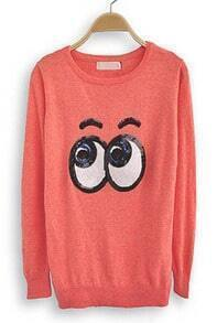 Orange Long Sleeve Sequined Eyes Print Sweatshirt