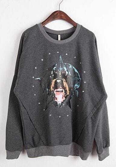 Grey Round Neck Long Sleeve Dog Print Sweatshirt