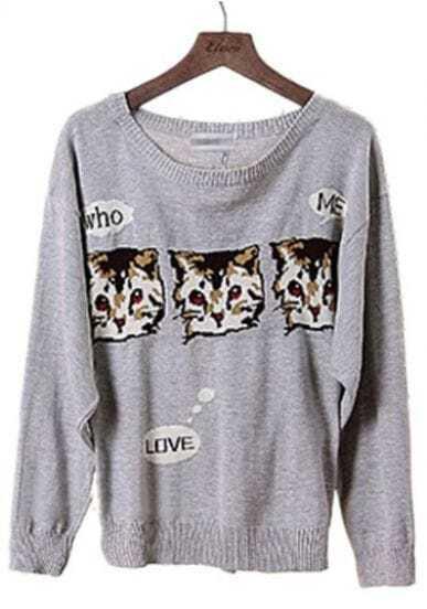 Grey Batwing Long Sleeve Cats Print Sweater