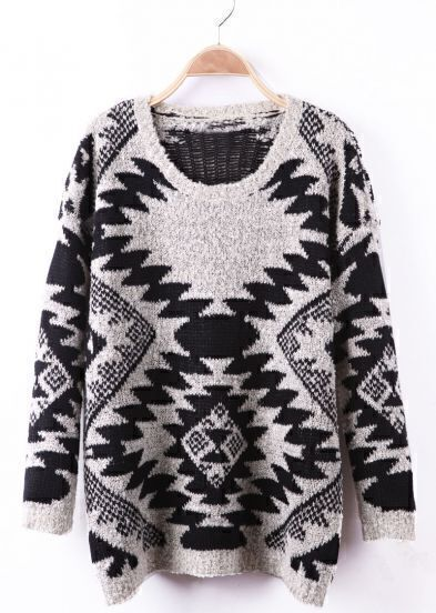 Black and Apricot Geo Pattern Tribal Fleck Sweater