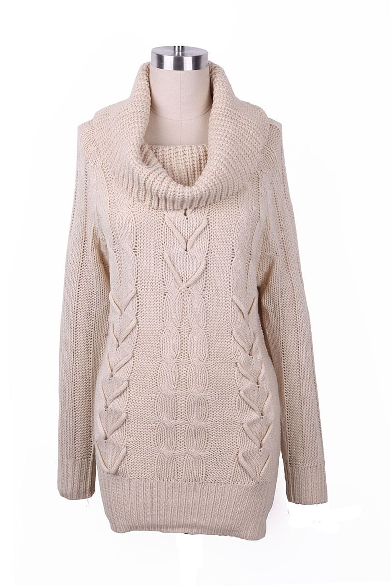 Beige Turtleneck Mulit Cable Knit Ribbed Long Sweater -SheIn ...