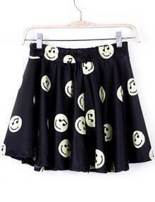 Black Musical Note Smile Print Skirt Shorts