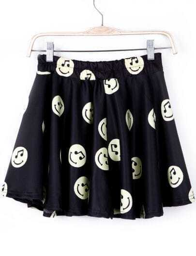 Black Musical Note Smile Print Skirt Shorts