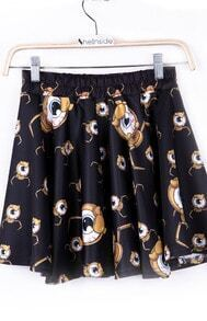 Black Spider Eye Ball Print Skirt Shorts