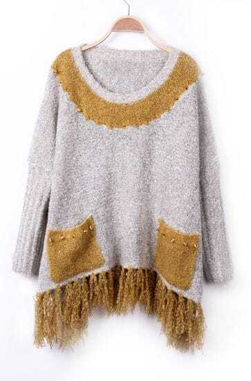 Light Grey Yellow Rivet Embellished Fringe Hem Batwing Sleeve Sweater