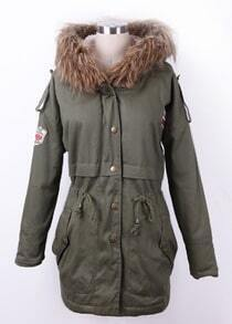 Army Green Fur Trimed Hooded Fleece Inisde Military Parka