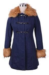 Navy Contrast Camel Fur Collar and Cuffs Hoop Buckle Long Coat
