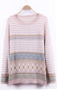 Light Pink Dropped Shoulder Striped Geo Pattern Knitted Sweater