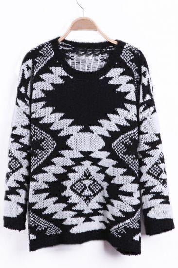 Black and White Geo Pattern Tribal Fleck Sweater