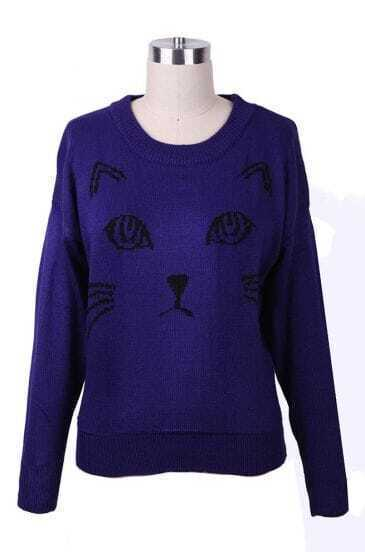 Royalblue Abstract Cat Pattern Batwing Sleeve Sweater