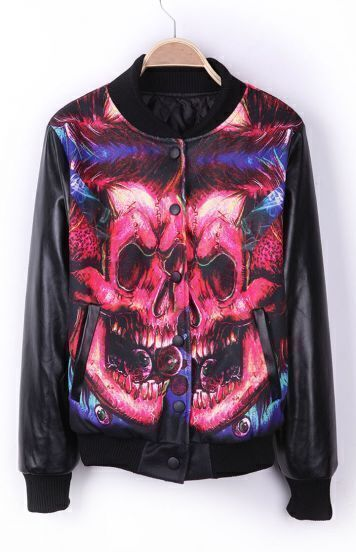 Black Eye Skull DON'T TRUST ANYONE PU Leather Sleeve Varsity Jacket