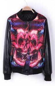 Black Eye Skull DON'T TRUST ANYONE PU Leather Sleeve Varsity Jacket