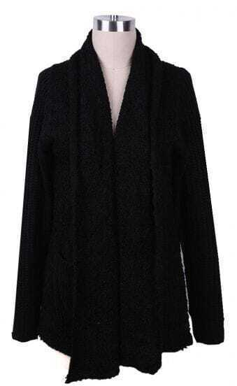 Black Shawl Collar Open Longline Sweater Cardigan