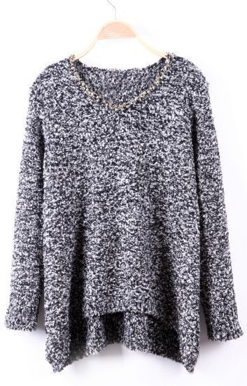 Black and White Fleck Studded Neckline High-Low Sweater