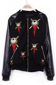Black the Embroid Eye Ball Fire PU Leather Sleeve Varsity Jacket