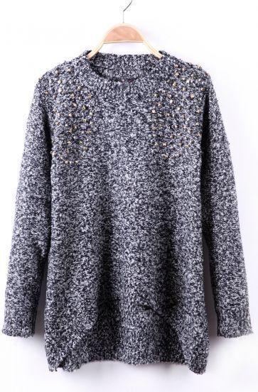 Black and White Fleck Rivet Embellished Crew Neck Sweater