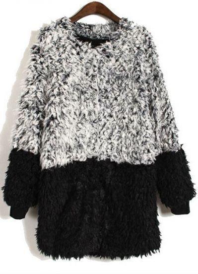 Grey Black Long Sleeve Plush Pullovers Sweater