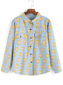 Light Blue Simpson Print Cartoon Denim Blouse