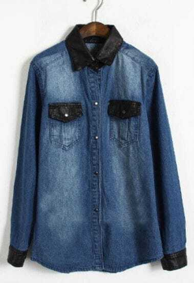 Dark Blue Contrast Leather Lapel Pocket Denim Blouse