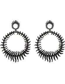 Black Round Thorns Stud Earrings