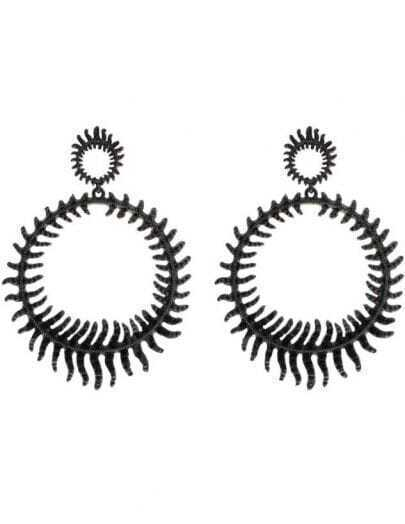 Black Round Thorns Stud Earrings