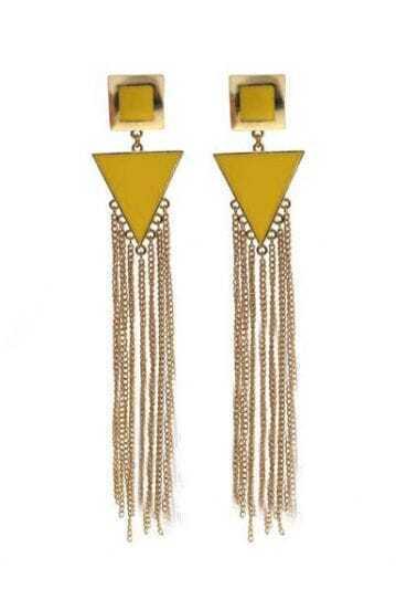 Yellow Triangle Gold Chain Tassel Stud Earrings