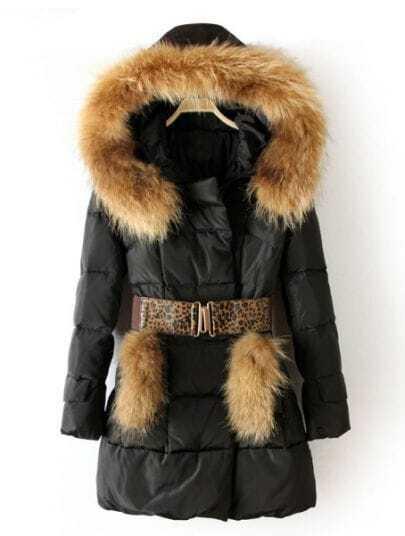 Black Hooded Fur Embellished Drawstring Down Coat