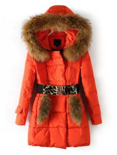 Orange Hooded Fur Embellished Drawstring Down Coat