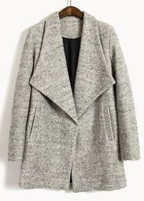 Light Grey Big Lapel Long Sleeve Pockets Coat