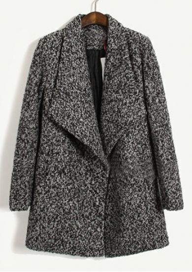 Dark Grey Big Lapel Long Sleeve Pockets Coat