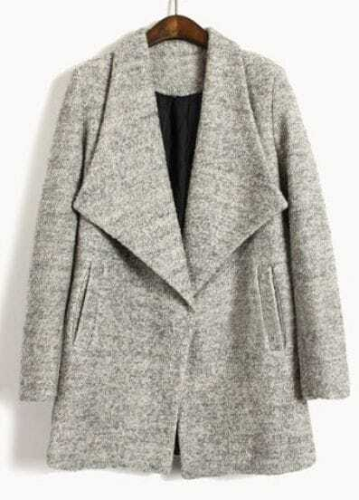 Light Grey Big Lapel Long Sleeve Pockets Coat