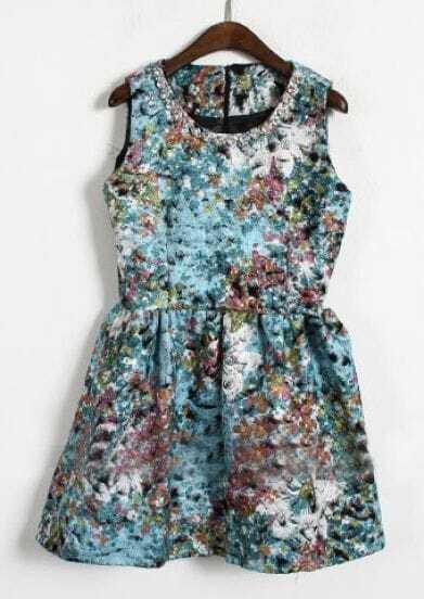 Blue Sleeveless Rhinestone Floral Tank Dress