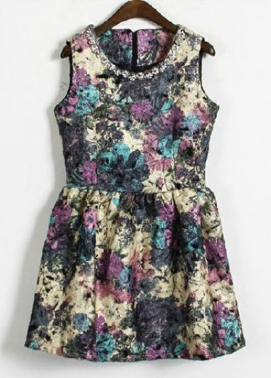 Purple Sleeveless Rhinestone Floral Tank Dress