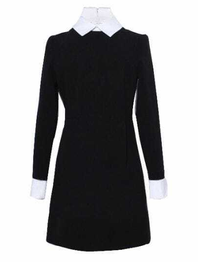 Black Contrast Collar Long Sleeve Zipper Dress