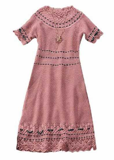Pink Short Sleeve Hollow Lace Embroidery Dress