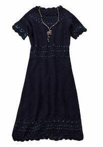 Black Short Sleeve Hollow Lace Embroidery Dress