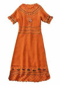 Orange Short Sleeve Hollow Lace Embroidery Dress
