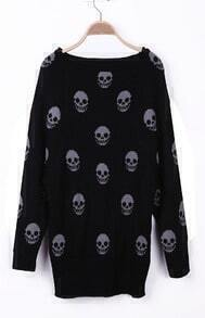 Black Skull Pattern Reglan Sleeve Boat Neck Sweater