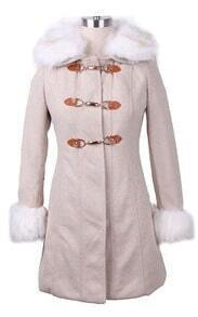 Beige Contrast White Fur Collar and Cuffs Hoop Buckle Long Coat