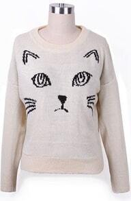 Beige Abstract Cat Pattern Batwing Sleeve Sweater
