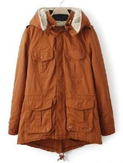 Orange Hooded Zipper Long Sleeve Pockets Coat