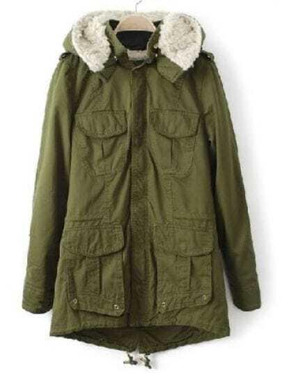 Green Hooded Zipper Long Sleeve Pockets Coat