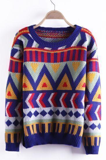 Navyblue Geometric Pattern Tribal Round Neck Sweater