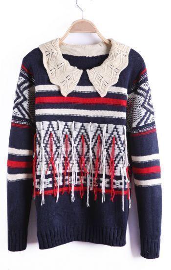 Navy Contrast Collar Striped Fringe Tribal Aztec Sweater