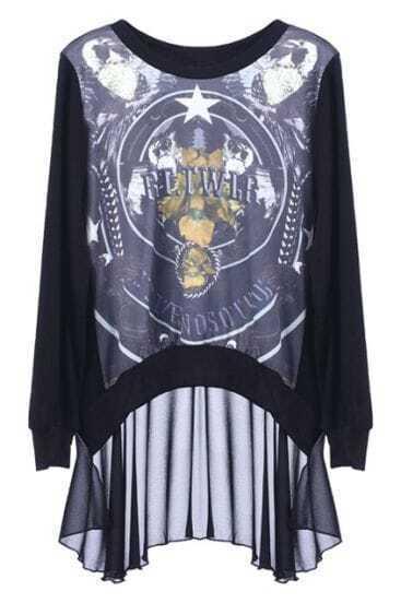 Black RT.TWLP Star Print Contrast Chiffon Back Hem High-Low Sweatshirt