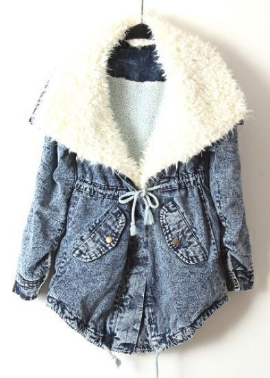 Blue Fur Lapel Long Sleeve Drawstring Denim Coat