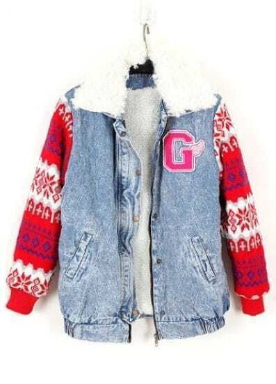 Light Blue Snowflake Embroidery Long Sleeve Denim Coat