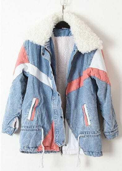 Blue Fur Lapel Long Sleeve Drawstring Denim Coat