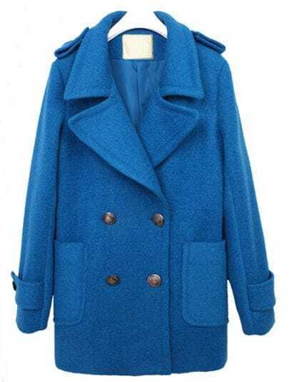 Blue Lapel Long Sleeve Epaulet Buttons Coat