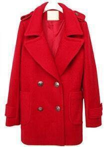 Red Lapel Long Sleeve Epaulet Buttons Coat